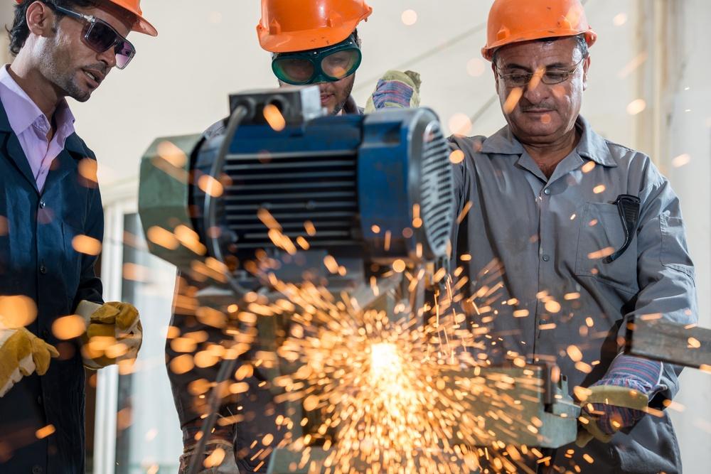 Industrial background. Welder in a factory