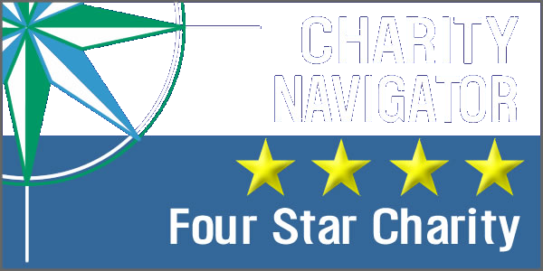 Charity Navigator four star rated charity badge
