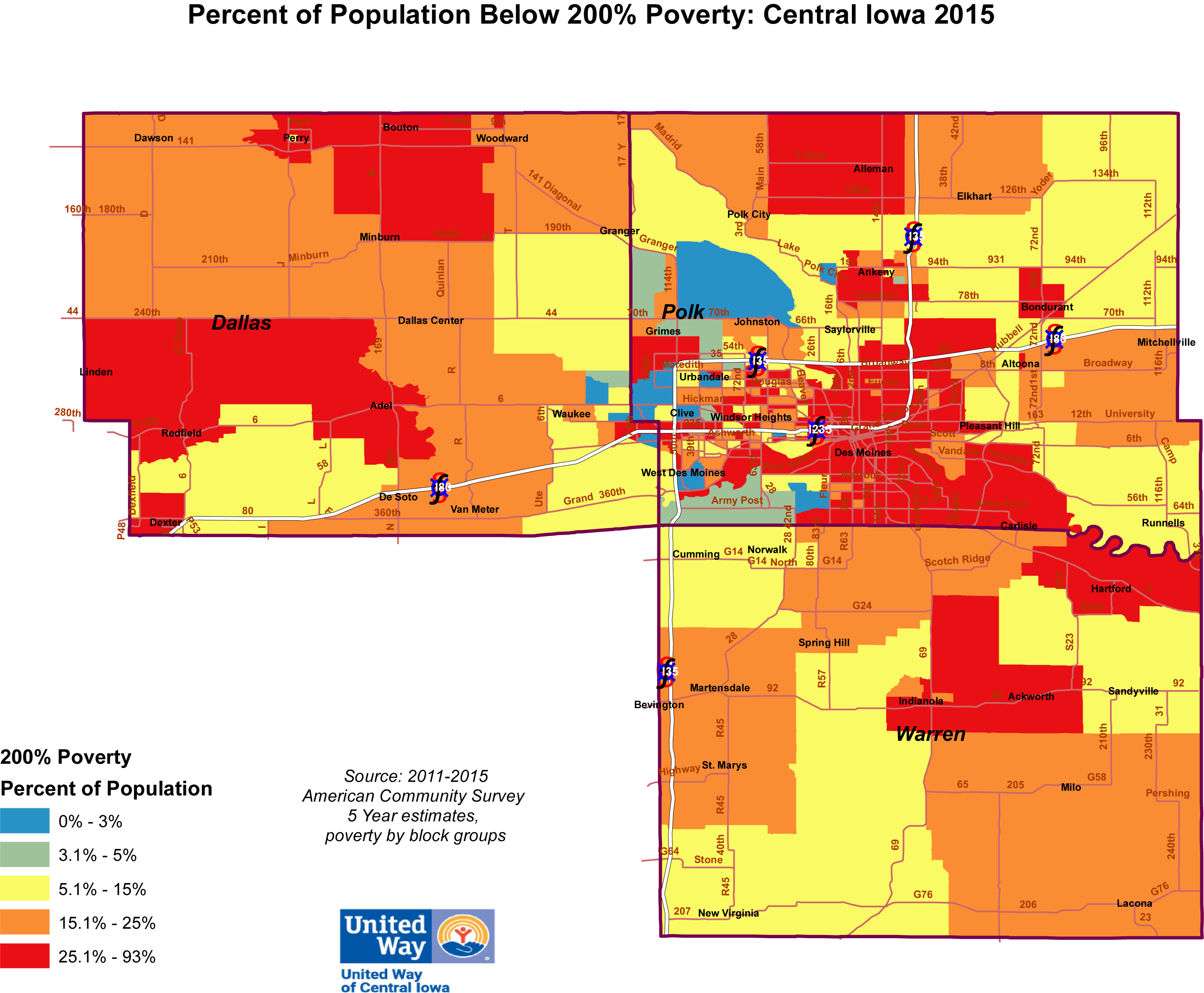 What is poverty in Des Moines and across the region?